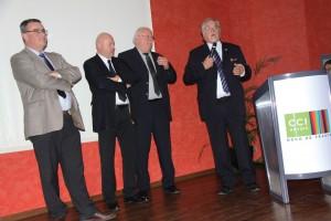 De gauche à droite, les trois vice-présidents, Jean-Marc Devise (Arras), Alain Cuise (Béthune), Patrick Leleu (Lens), et le président Edouard Magnaval.