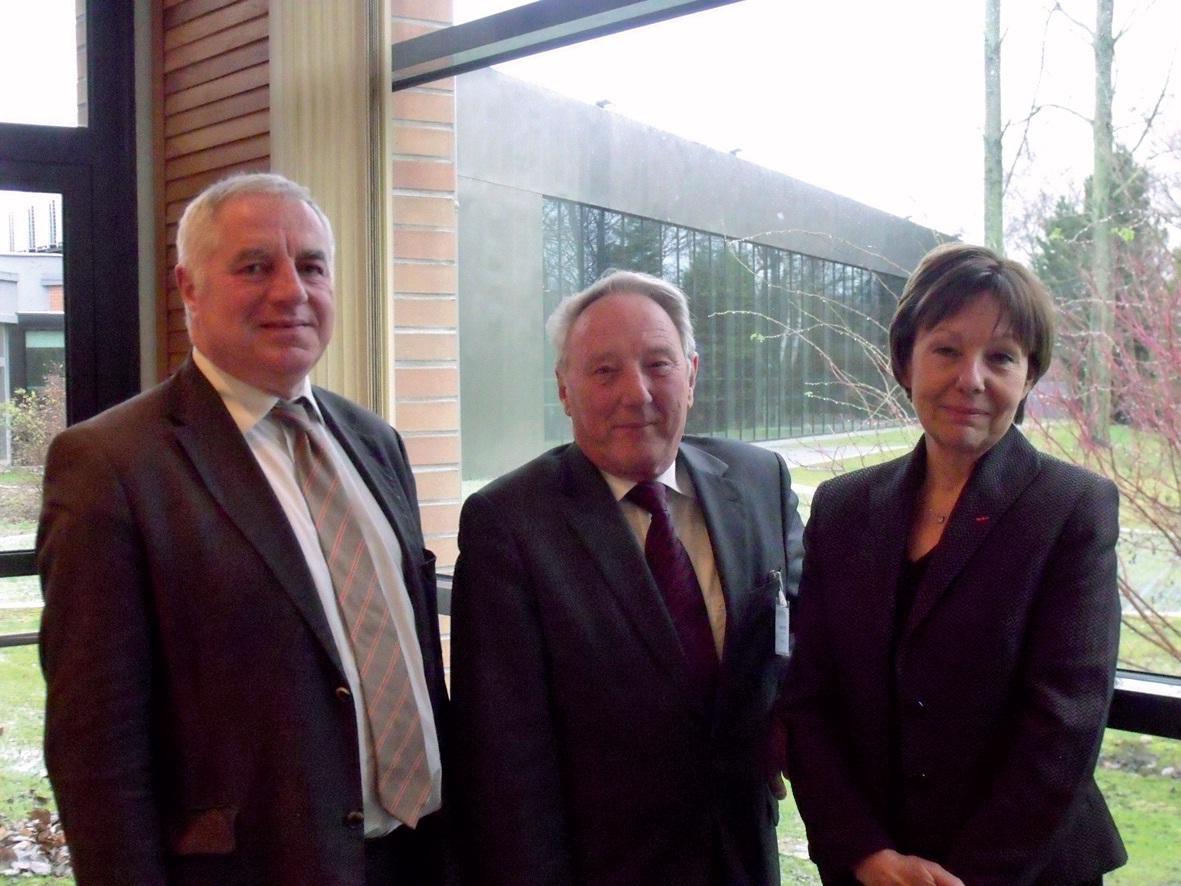 Martial Bouton, directeur général Alliance emploi, Daniel Pottier, président Alliance emploi, et Aline Jacquet-Duvaln, présidente de l'Ugef.