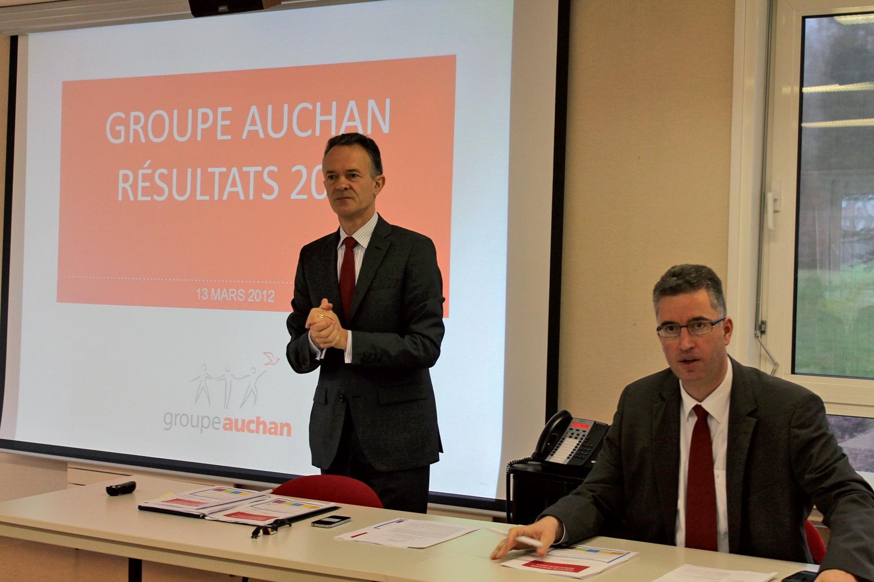Xavier de Mézerac, directeur financier (à gauche), et Vincent Mignot, directeur général Auchan France.