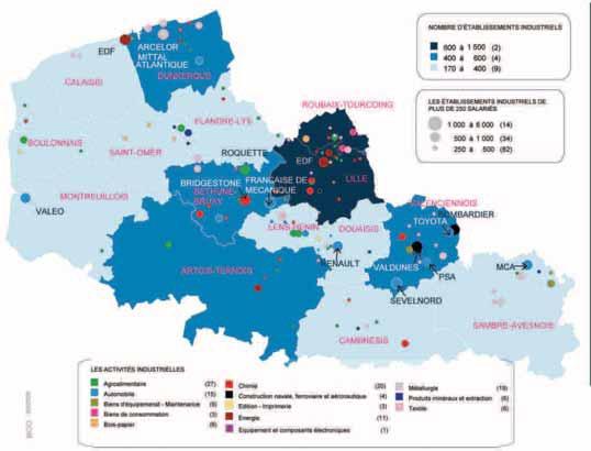 Les établissements industriels dans les zones d'emploi de la région Nord-Pas-de-Calais