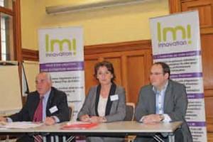 De gauche à droite, Jean-François Bell, président, Dominique Rybicki, directrice de LMI, et Ludovic Aernouts, président du club LMI.