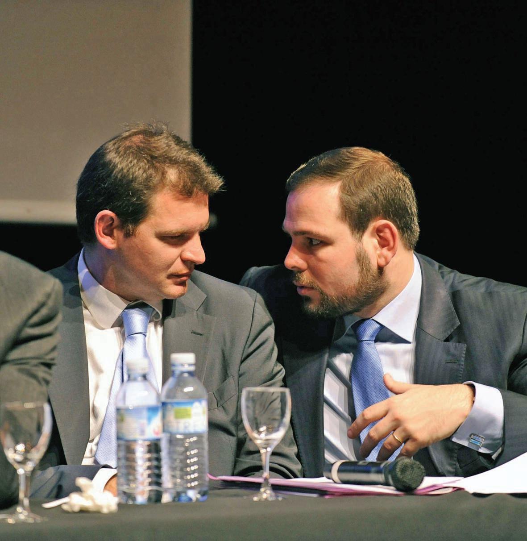 Yannick Sala (à droite), le nouveau président de la FNUJA et Stéphane Dhonte, le président sortant à l'ouverture du 69e Congrès à Lille.