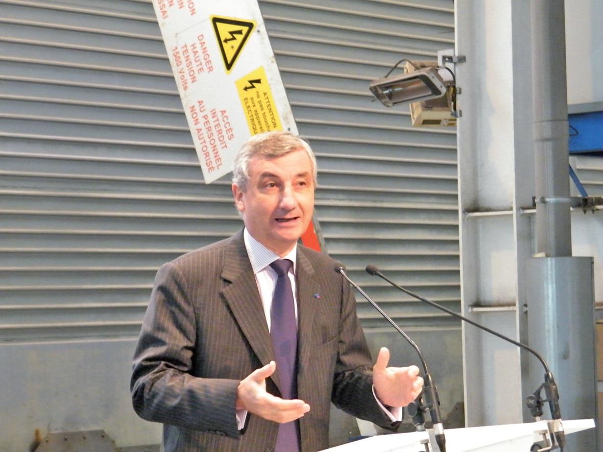 Jacques Gounon, PDG de Groupe Eurotunnel, lors du lancement de la nouvelle navette.