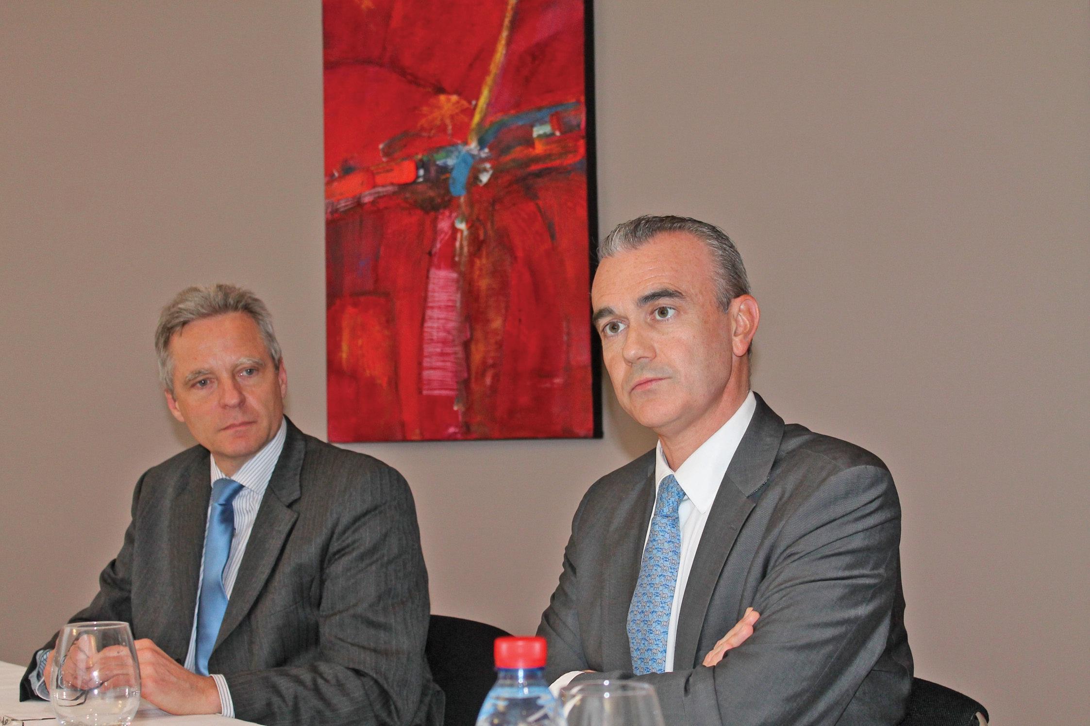 De gauche à droite, Philippe Merviel, directeur régional région Nord Métropole, et Philippe Aymerich, directeur général du Crédit du Nord depuis janvier dernier.