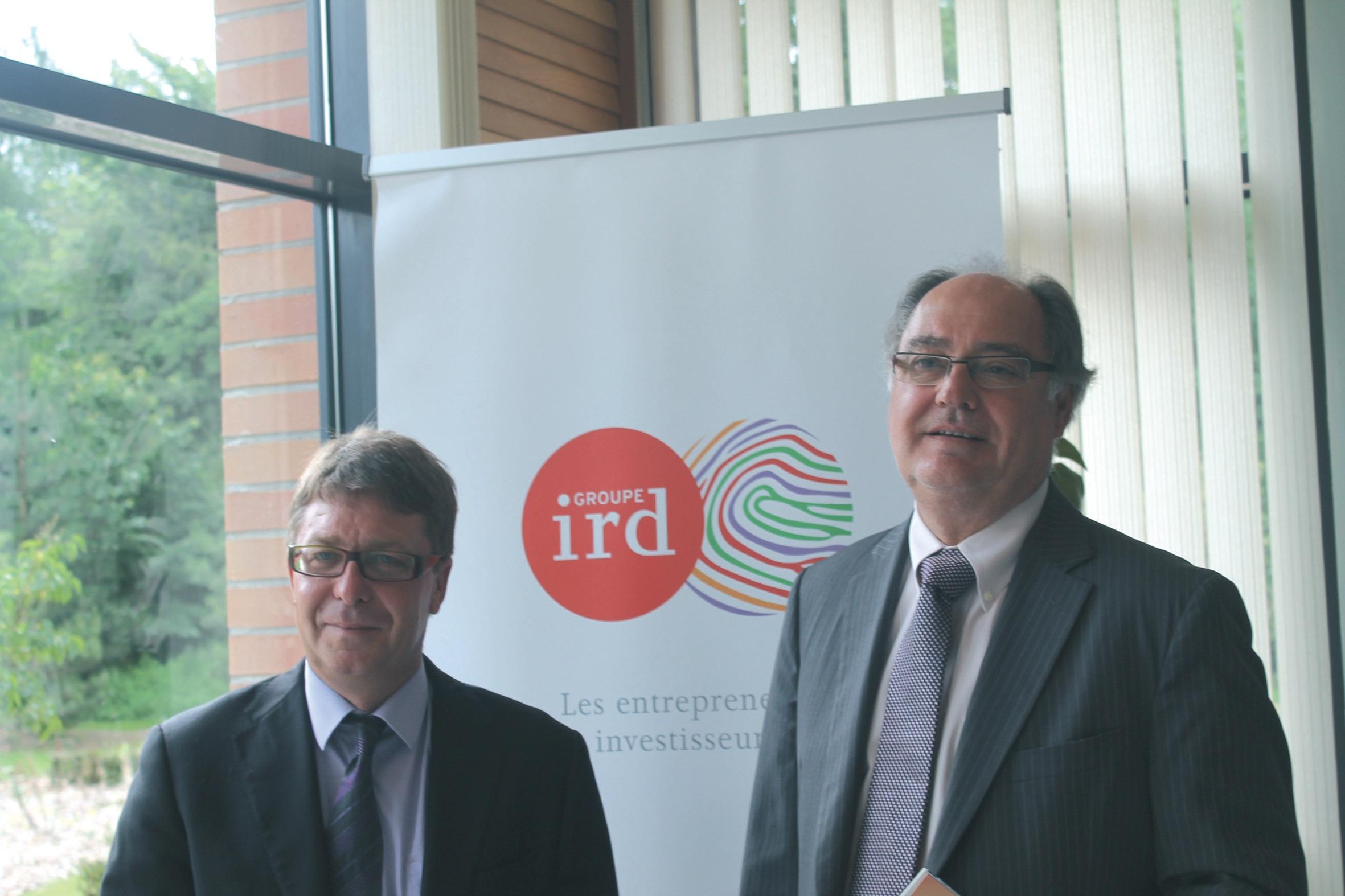 De gauche à droite, Thierry Dujardin, directeur général adjoint, et Marc Verly, directeur général du groupe IRD.