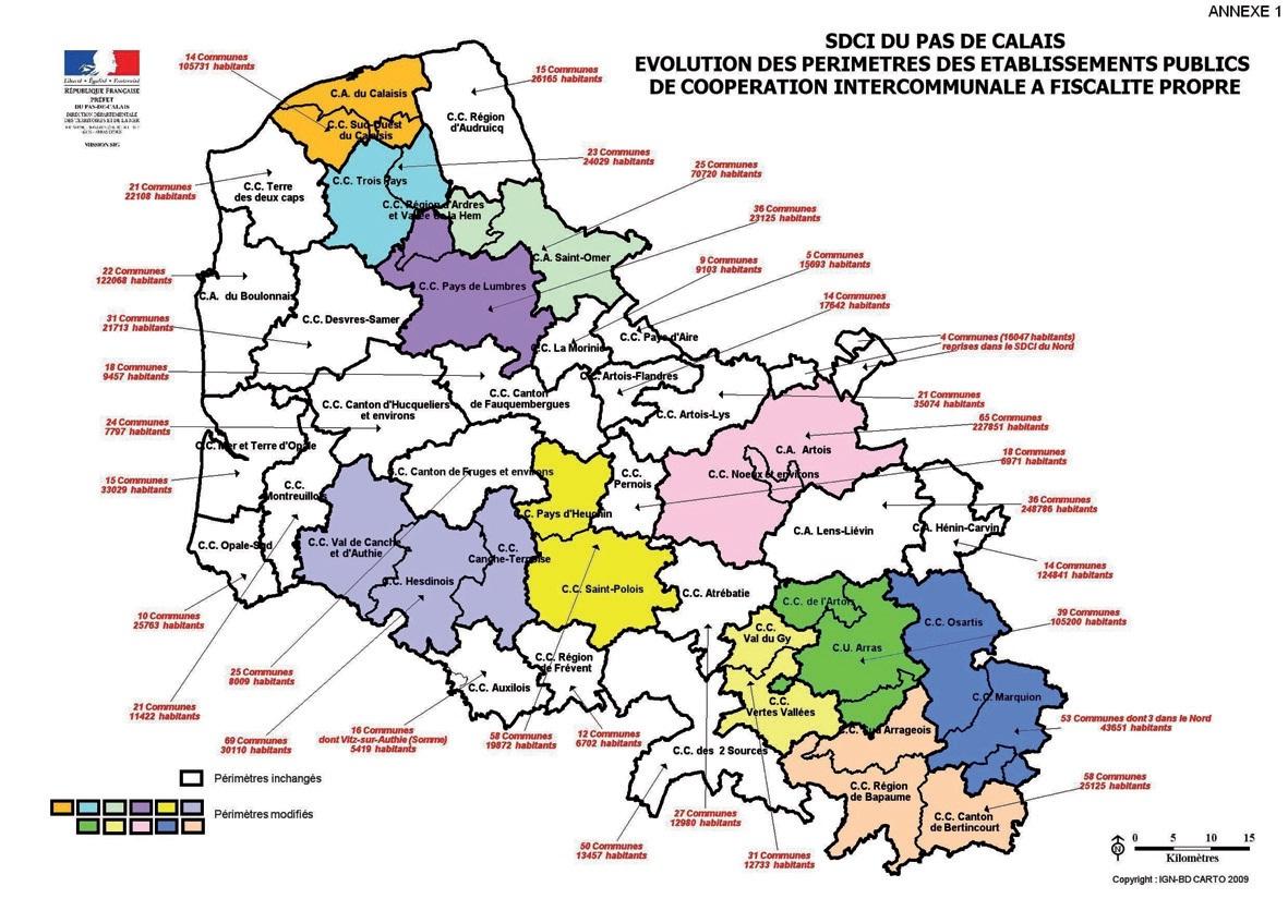 Carte des évolutions des périmètres pour 2013.