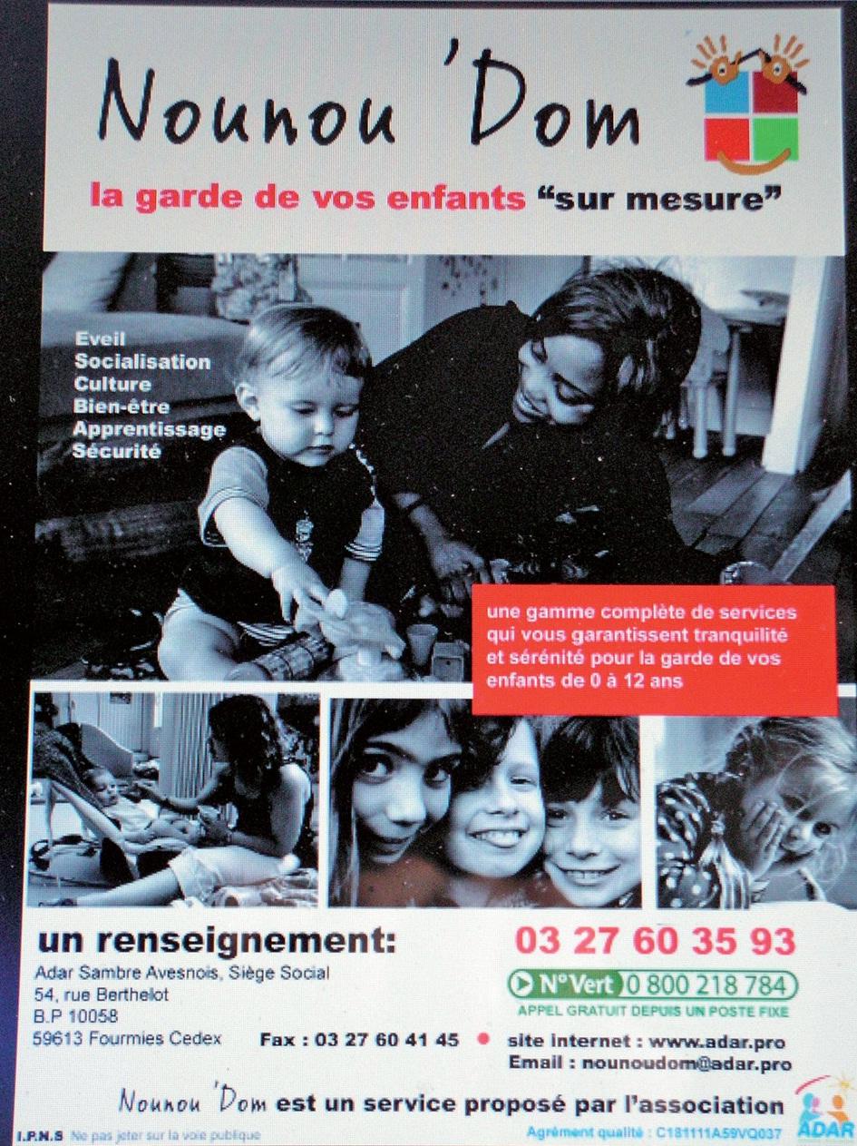 """Une brochure est sortie à l'occasion du lancement de """"Nounou'Dom"""", téléchargeable sur Internet."""