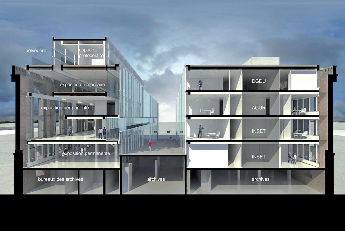 Avec ses 13 000 m² et ses six niveaux répartis sur les deux ailes du bâtiment, la Halle aux sucres et son architecture singulière s'imposent sur le Môle 1.