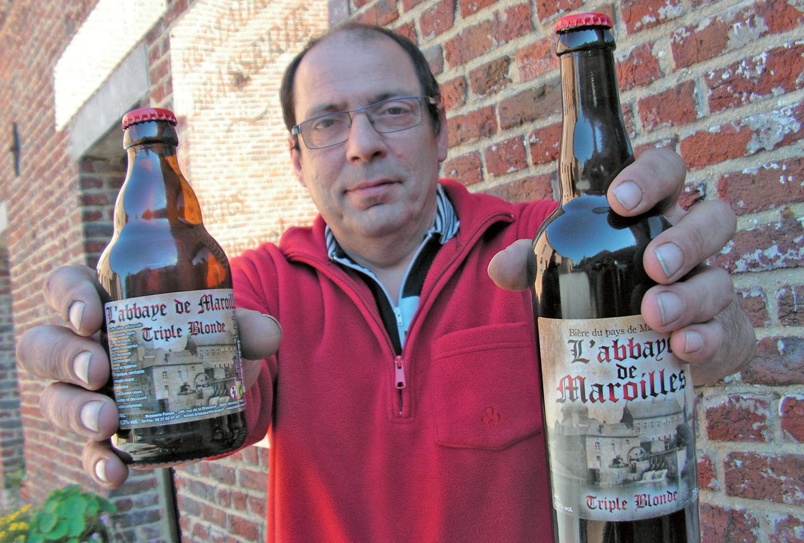 La dernière bière de la brasserie Forest à Monceau-Saint-Waast aux couleurs de Maroilles. Elle est vendue sous deux formats. A déguster bien entendu avec modération selon la formule consacrée.