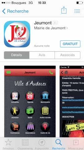"""Une application pour mobile baptisée """"ville de Jeumont""""."""