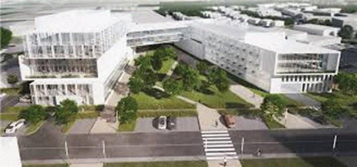 La perspective du premier immeuble d'affaires qui doit sortir de terre au bout du boulevard de l'Ouest d'ici 2017.