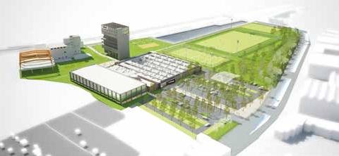 Un village dans la ville : le concept Kipstadium, tel qu'il sortira de terre en mars prochain.