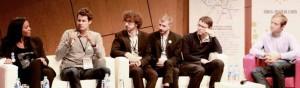De g. à d., les fondateurs des entreprises Clic and Walk, Critizr, Byook, Etinéo, Onecub et Adictiz.