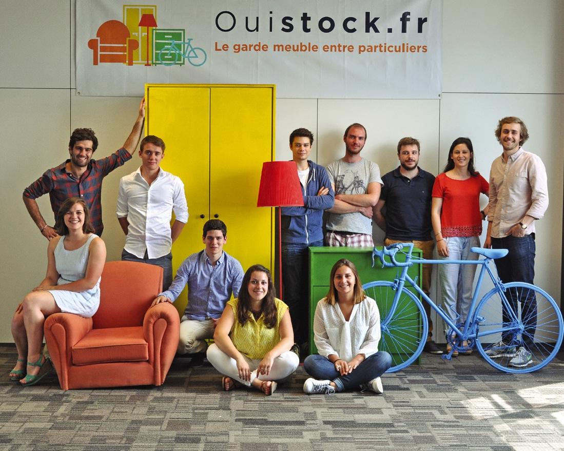 L'équipe Ouistock avec en en haut les créateurs de la société, Neville Ricour (à gauche) et Simon Ryckembusch (à droite).