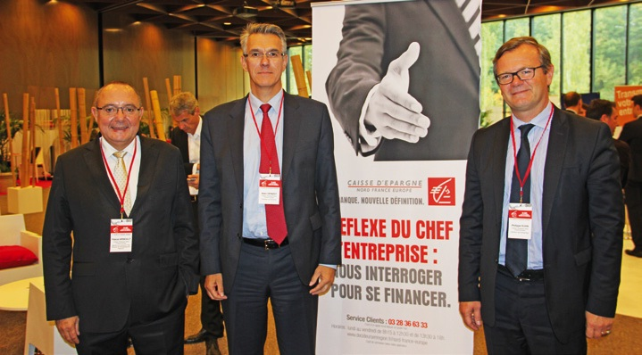 De gauche à droite : Pascal Arnoult, membre du directoire chargé du pôle Banque des décideurs en région, Alain Denizot, président du directoire, et Philippe Kuhn, directeur du marché Entreprises, membre du comité exécutif de la Caisse d'épargne Nord France Europe.