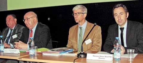 De gauche à droite : Jean-Michel Hiolle, chef d'entreprise et vice-président ; Alain Bocquet, président de l'agence et de la communauté d'agglomération de la Porte du Hainaut ; Thierry Devimeux, sous-préfet de l'arrondissement de Valenciennes depuis cet été ; Olivier Delattre, directeur du pôle développement économique et emploi de la CAPH.